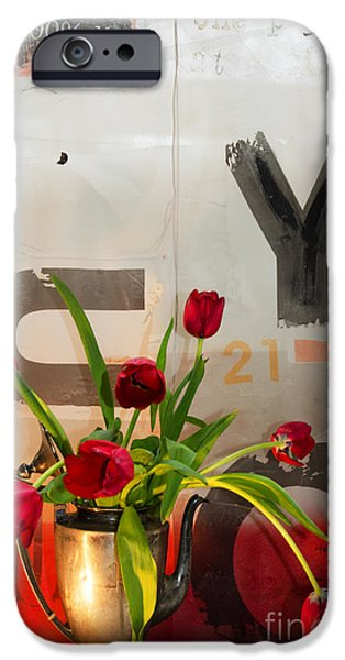 Interior Still Life Mixed Media iPhone Cases - Graffiti Still Life Tulips iPhone Case by Anahi DeCanio - ArtyZen Studios