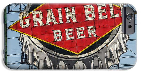 Beauty Mark iPhone Cases - Grain Belt Beer Sign iPhone Case by Paul Freidlund