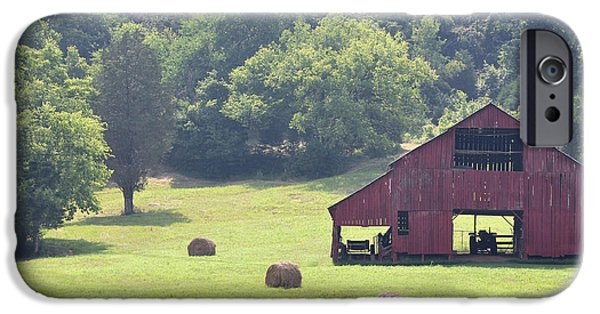 Tennessee Hay Bales iPhone Cases - Grampas Summer Barn iPhone Case by Jan Amiss Photography