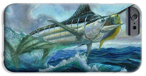 Marlin Azul iPhone Cases - Grand Blue Marlin Jumping eating Mahi Mahi iPhone Case by Terry  Fox