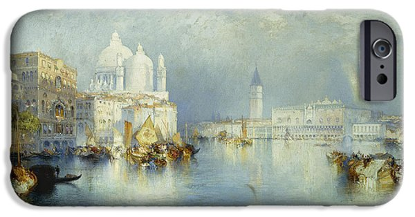 Romantic Art iPhone Cases - Grand Canal Venice iPhone Case by Thomas Moran