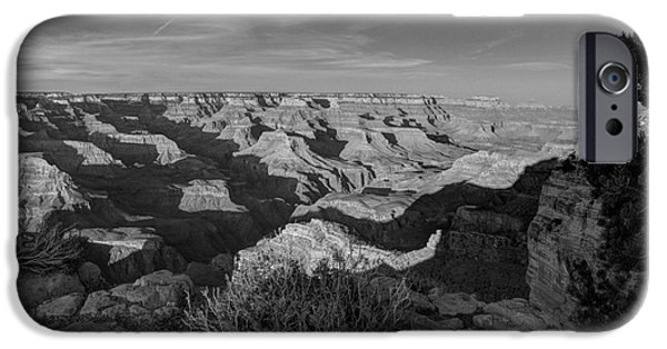 Grand Canyon iPhone Cases - Grand Canyon National Park Spring Sunset BW iPhone Case by Wayne Moran