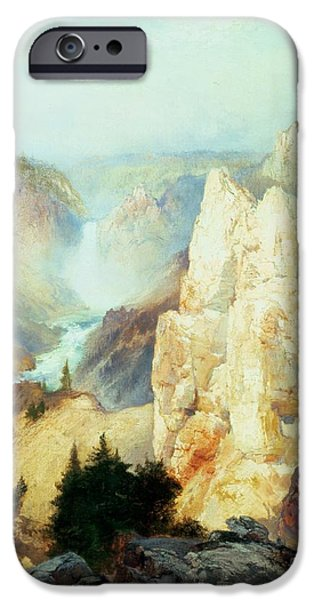 Rocks iPhone Cases - Grand Canyon of the Yellowstone Park iPhone Case by Thomas Moran