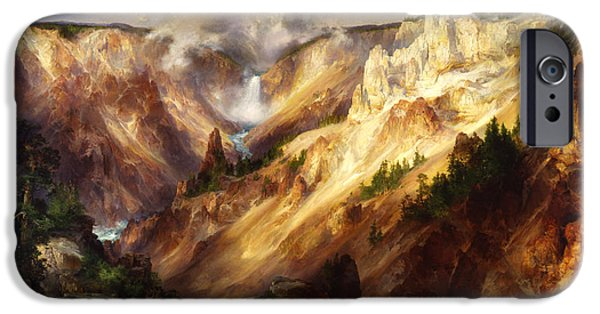 Grand Canyon Digital iPhone Cases - Grand Canyon Of The Yellowstone iPhone Case by Thomas Moran