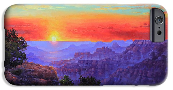 Grand Canyon iPhone Cases - Grand Canyon Sunset iPhone Case by Gary Kim