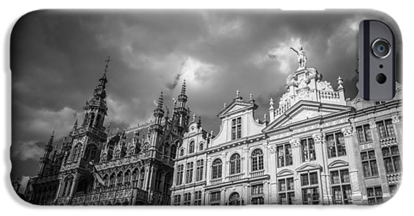 Guild iPhone Cases - Grand Place Mono 1 iPhone Case by Chris Fletcher