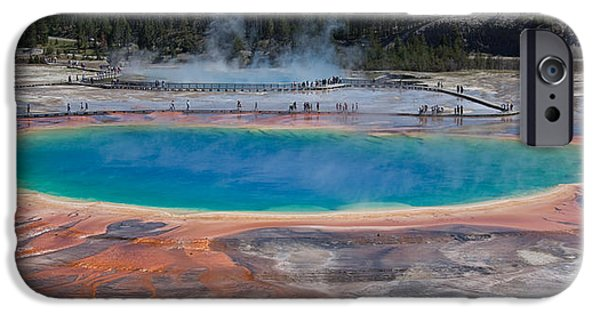 Blue Mountains Red iPhone Cases - Grand Prismatic Spring iPhone Case by Ralf Kaiser