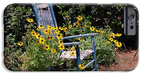 Rocking Chairs Photographs iPhone Cases - Grandmas rocking chair iPhone Case by Susanne Van Hulst