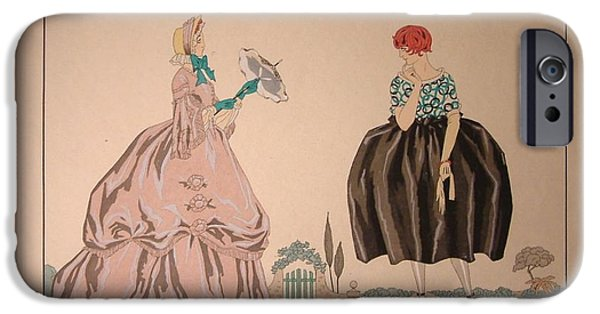 Georges Barbier iPhone Cases - Grandmother and Granddaughter iPhone Case by Celestial Images