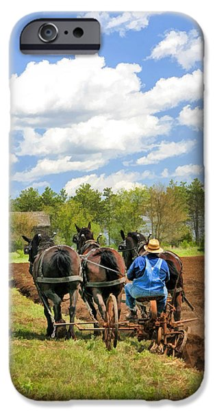 Old Barn Paintings iPhone Cases - Grandpa and His Team of Horses at Old World Wisconsin iPhone Case by Christopher Arndt