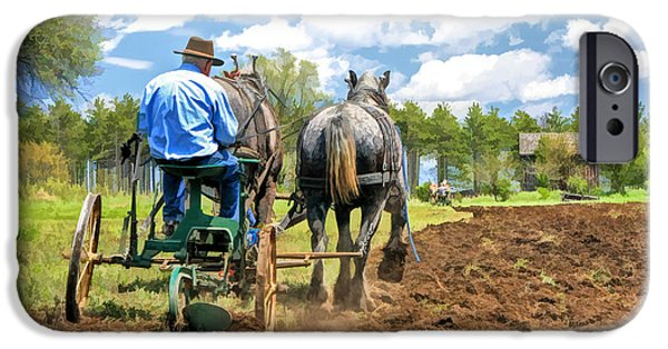 Old Man iPhone Cases - Grandpa at the Plow at Old World Wisconsin iPhone Case by Christopher Arndt