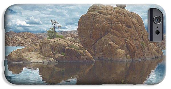 Watson Lake iPhone Cases - Granite Dells at Watson Lake 2 iPhone Case by Muriel Levison Goodwin