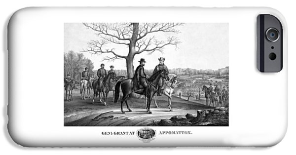 American History iPhone Cases - Grant And Lee At Appomattox iPhone Case by War Is Hell Store