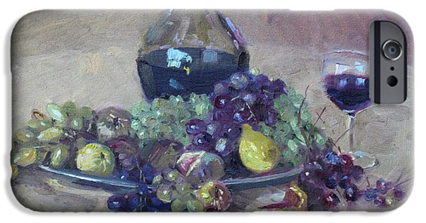 Wine Glasses Paintings iPhone Cases - Grape and Wine iPhone Case by Ylli Haruni