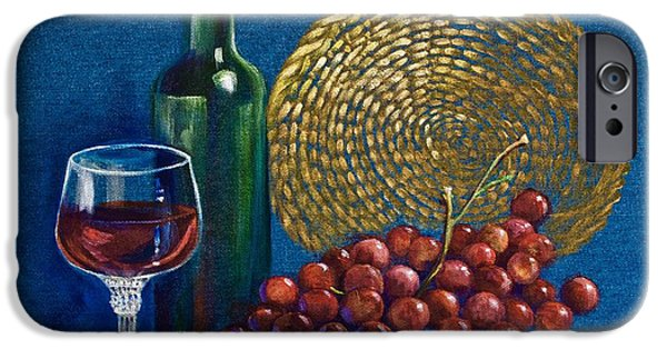 Wine Bottles iPhone Cases - Grapes and Wine iPhone Case by AnnaJo Vahle
