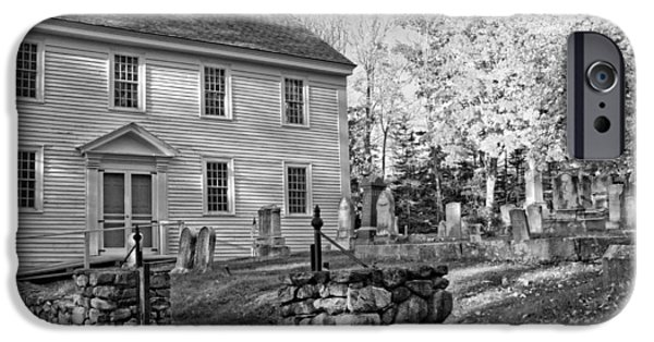 Head Stones iPhone Cases - Graveyard Old Country Church Black and White Photo iPhone Case by Keith Webber Jr