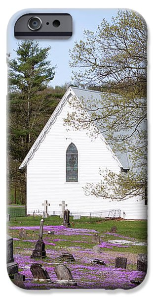 Graveyard Phlox Country Church iPhone Case by John Stephens
