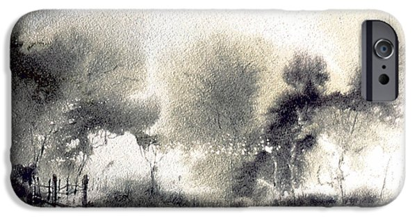 Monotone Paintings iPhone Cases - Gray Path iPhone Case by Jacob Krapowicz