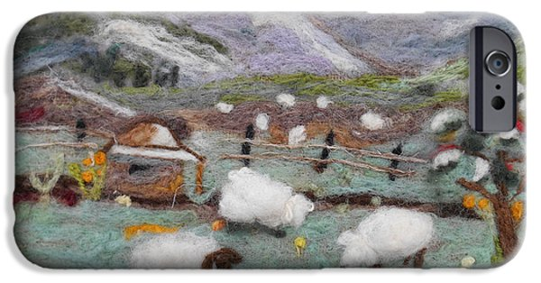 Farm Tapestries - Textiles iPhone Cases - Grazing Woolies iPhone Case by Christine Lathrop