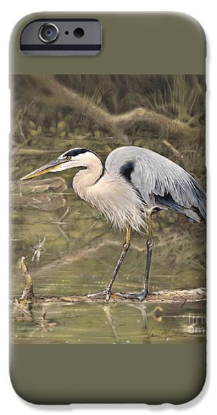 Birds iPhone Cases - Great Blue Heron iPhone Case by Laurie Musser