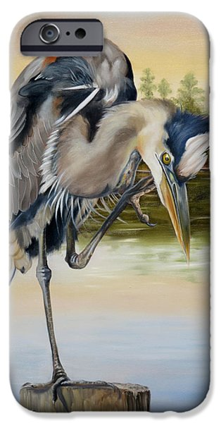 River Jordan Paintings iPhone Cases - Great Blue Heron On The Jordan River iPhone Case by Phyllis Beiser