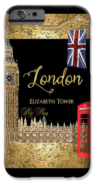 Iconic Mixed Media iPhone Cases - Great Cities London - Big Ben British Phone booth iPhone Case by Audrey Jeanne Roberts