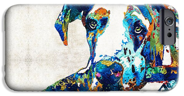Dog Pop Art iPhone Cases - Great Dane Art - Stick With Me - By Sharon Cummings iPhone Case by Sharon Cummings
