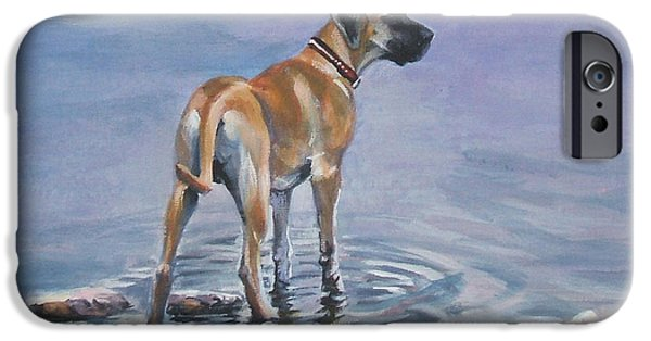 Great Dane Puppy iPhone Cases - Great Dane iPhone Case by Lee Ann Shepard
