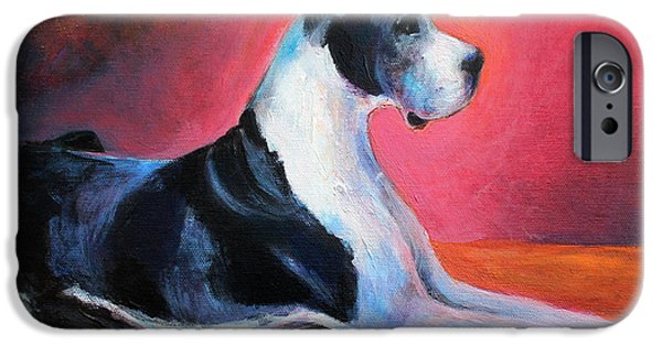 Posters From iPhone Cases - Great Dane painting Svetlana Novikova iPhone Case by Svetlana Novikova