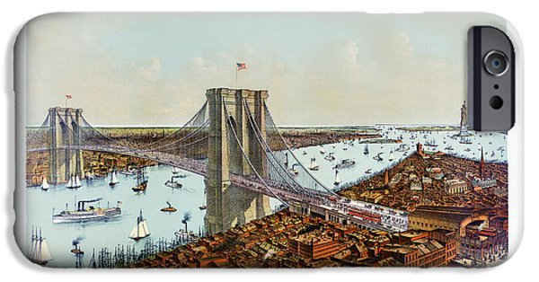 Brooklyn Bridge Mixed Media iPhone Cases - Great East River suspension bridge 1892 iPhone Case by Carsten Reisinger