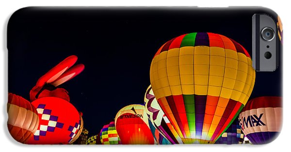 Hot Air Balloon Pyrography iPhone Cases - Great Forest Park Balloon Glow 2 iPhone Case by Satoshi Kina