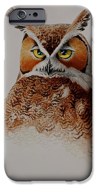Nature Study Paintings iPhone Cases - Great Horned iPhone Case by Kurt Plinke