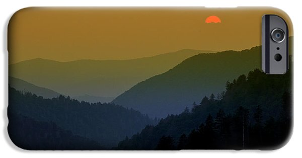 Morton iPhone Cases - Great Smoky Mountain sunset iPhone Case by Thomas Schoeller