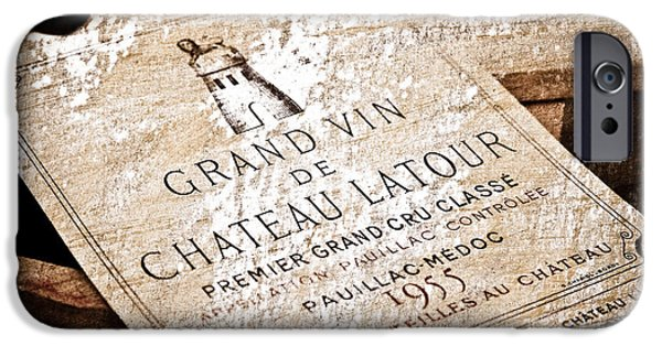 Wine Art iPhone Cases - Great Wines Of Bordeaux - Chateau Latour 1955 iPhone Case by Frank Tschakert