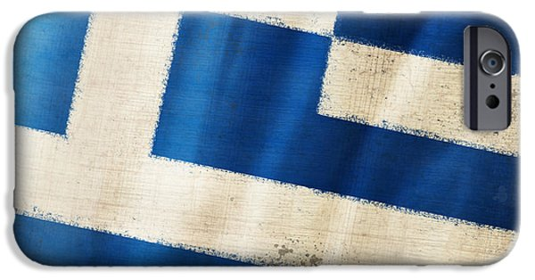 Dirty iPhone Cases - Greece flag iPhone Case by Setsiri Silapasuwanchai