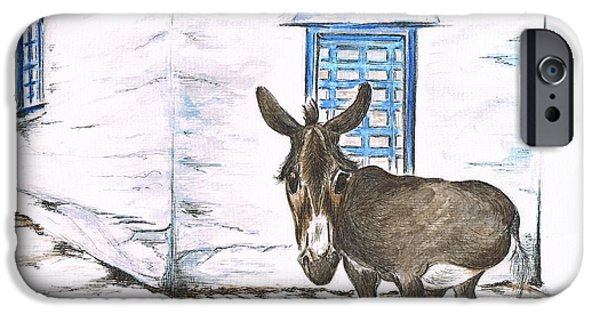 Owner Drawings iPhone Cases - Greek Donkey iPhone Case by Teresa White