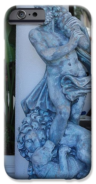 GREEK DUDE AND LION IN BLUE iPhone Case by ROB HANS