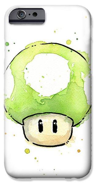 Mushroom iPhone Cases - Green 1UP Mushroom iPhone Case by Olga Shvartsur