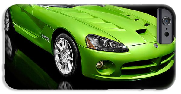 Sportcars iPhone Cases - Green 2008 Dodge Viper SRT10 Roadster iPhone Case by Oleksiy Maksymenko