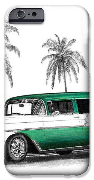 Green 56 Chevy Wagon iPhone Case by Peter Piatt