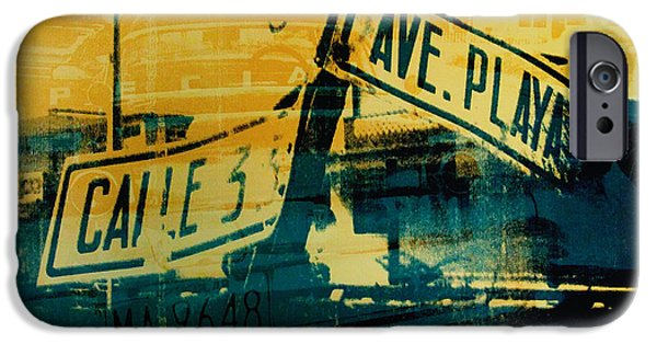 Screen Print iPhone Cases - Green and Yellow Street Sign iPhone Case by David Studwell