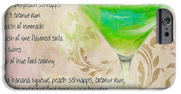 Collins iPhone Cases - Green Angel Mixed Cocktail Recipe Sign iPhone Case by Mindy Sommers