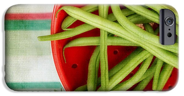 Green Beans iPhone Cases - Green Beans Red Collander iPhone Case by Rebecca Cozart