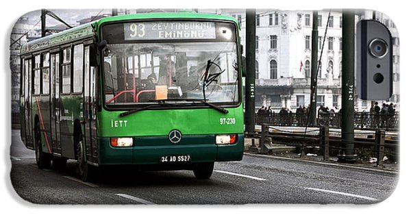 Interior Scene iPhone Cases - Green Bus on the Galata iPhone Case by John Rizzuto