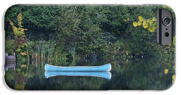 Rainy Day iPhone Cases - Blue Canoe iPhone Case by Alain  Gagnon