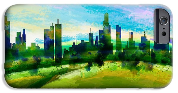 Abstract Digital iPhone Cases - Green City iPhone Case by Bedros Awak