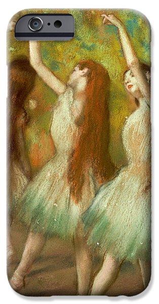 Ballet Dancers iPhone Cases - Green Dancers iPhone Case by Edgar Degas
