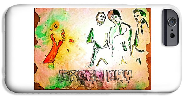 Green Day Paintings iPhone Cases - Green Day iPhone Case by Ajay