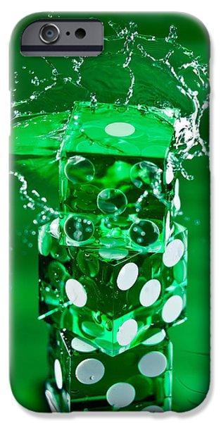Spin iPhone Cases - Green Dice Splash iPhone Case by Steve Gadomski