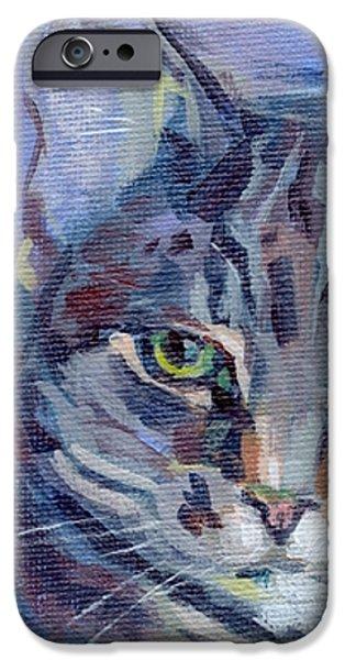Green Eyed Tabby - Thomasina iPhone Case by Kimberly Santini